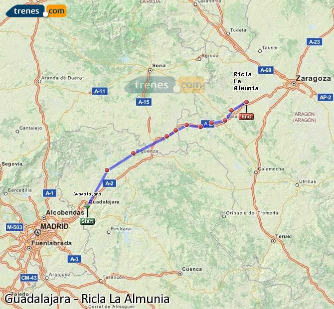 Agrandir la carte Trains Guadalajara Ricla La Almunia