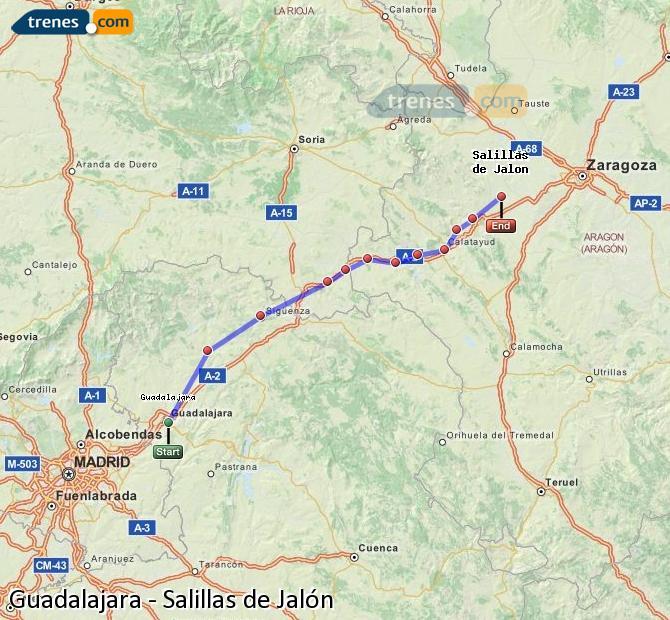Agrandir la carte Trains Guadalajara Salillas de Jalón