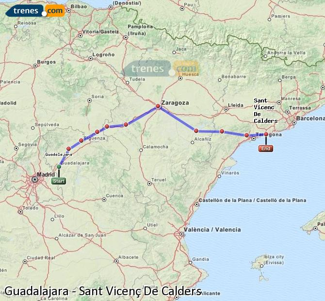 Agrandir la carte Trains Guadalajara Sant Vicenç De Calders