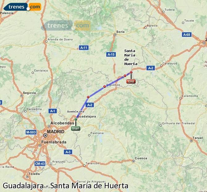 Agrandir la carte Trains Guadalajara Santa María de Huerta