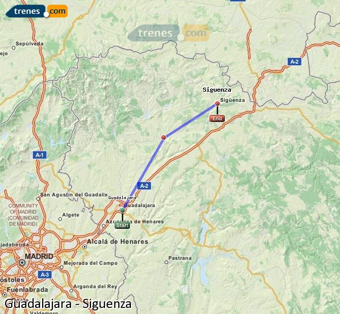 Enlarge map Trains Guadalajara to Siguenza
