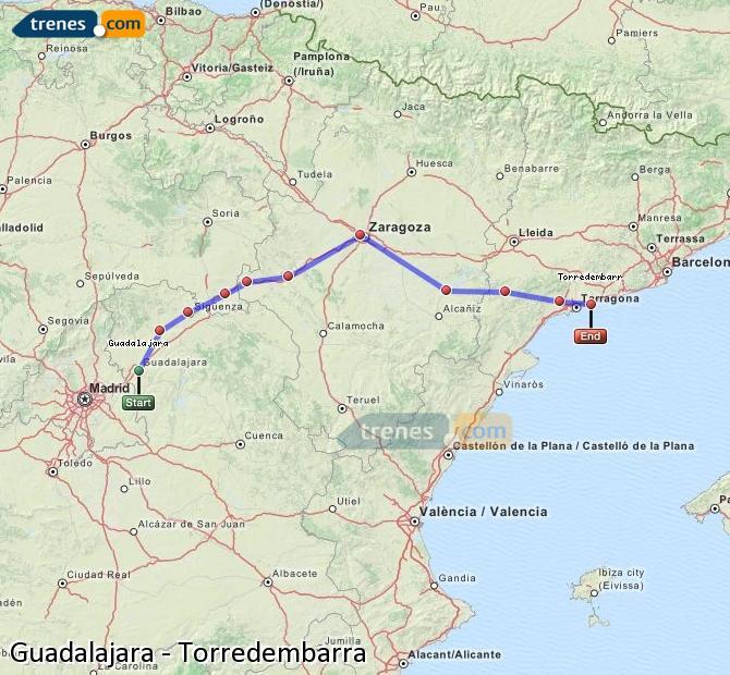 Karte vergrößern Züge Guadalajara Torredembarra