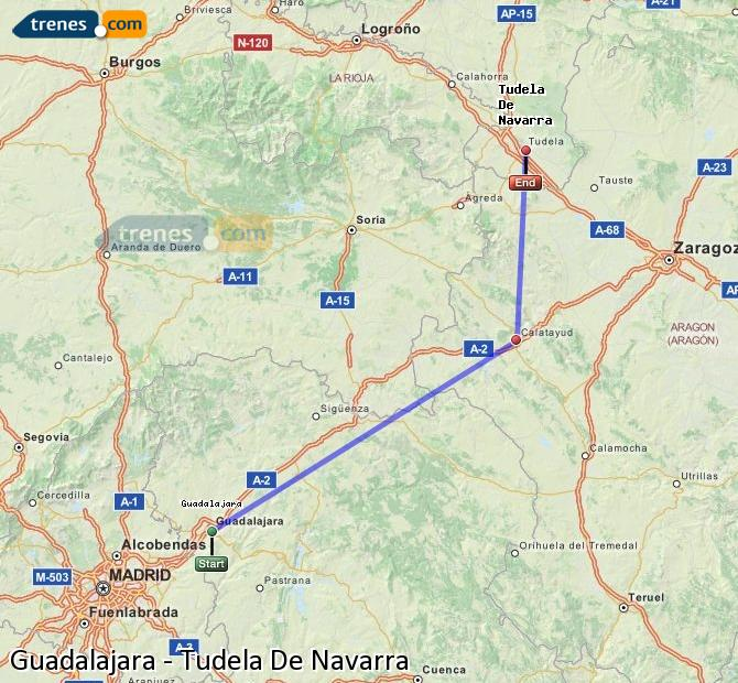 Agrandir la carte Trains Guadalajara Tudela De Navarra