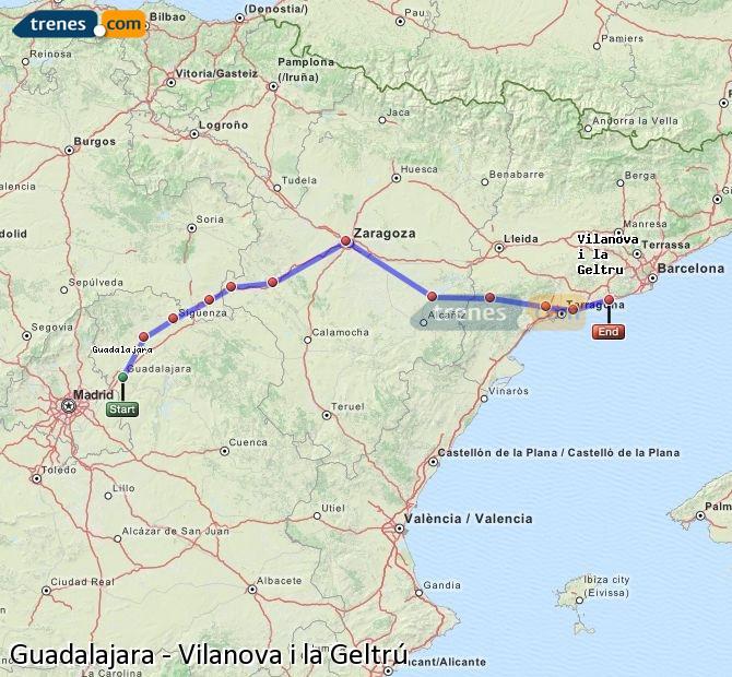 Agrandir la carte Trains Guadalajara Vilanova i la Geltrú