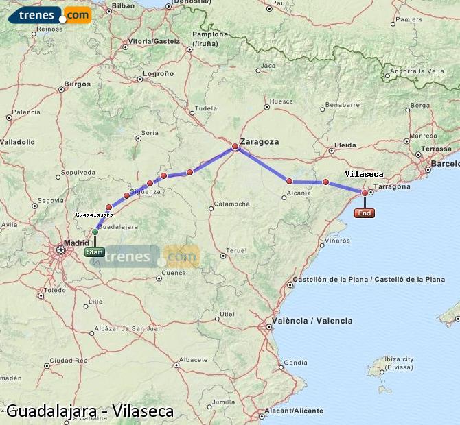 Karte vergrößern Züge Guadalajara Vilaseca