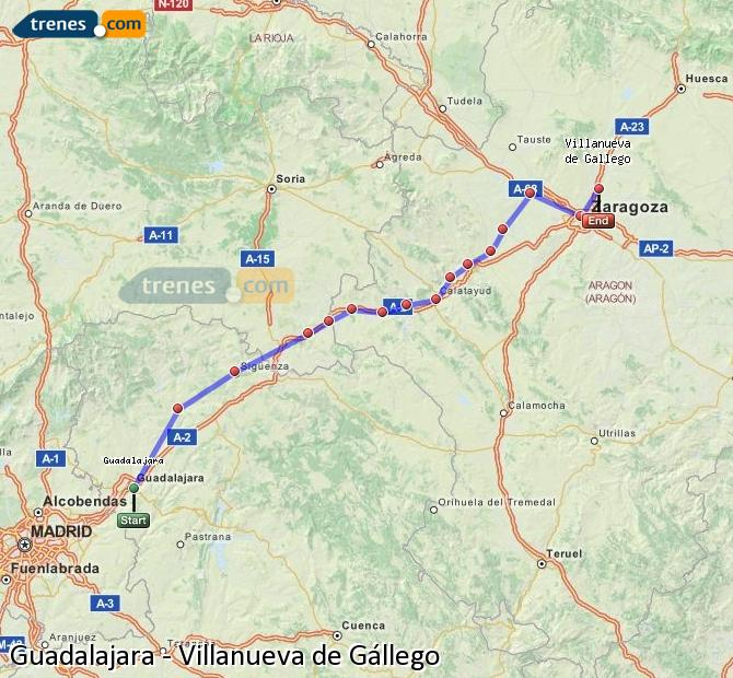 Ampliar mapa Comboios Guadalajara Villanueva de Gállego