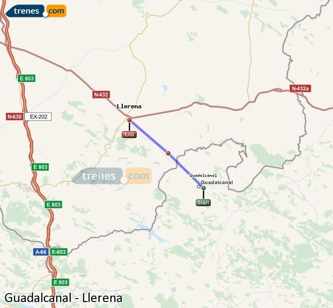 Enlarge map Trains Guadalcanal to Llerena