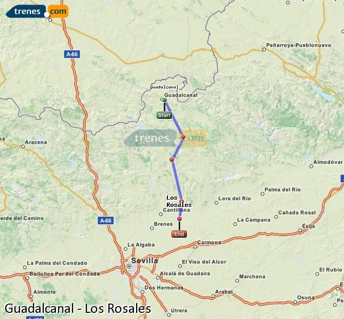 Enlarge map Trains Guadalcanal to Los Rosales