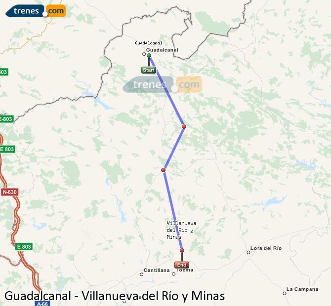 Enlarge map Trains Guadalcanal to Villanueva del Río y Minas