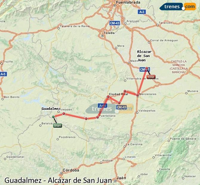 Ingrandisci la mappa Treni Guadalmez Alcázar de San Juan