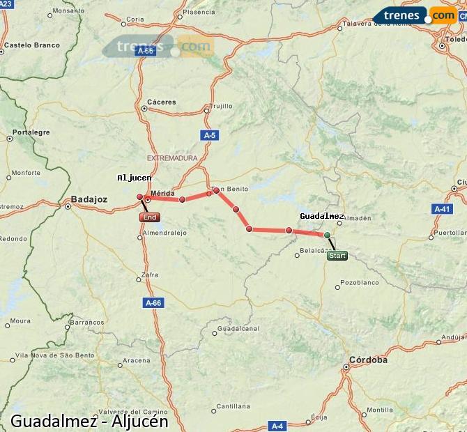 Agrandir la carte Trains Guadalmez Aljucén