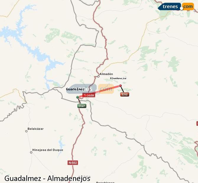 Ampliar mapa Comboios Guadalmez Almadenejos