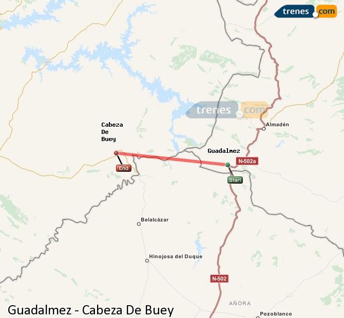 Ingrandisci la mappa Treni Guadalmez Cabeza De Buey
