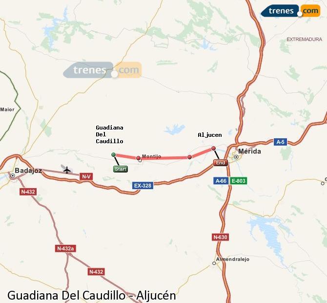Ingrandisci la mappa Treni Guadiana Del Caudillo Aljucén