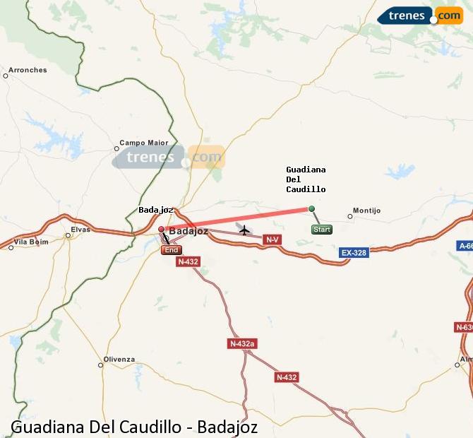 Ingrandisci la mappa Treni Guadiana Del Caudillo Badajoz