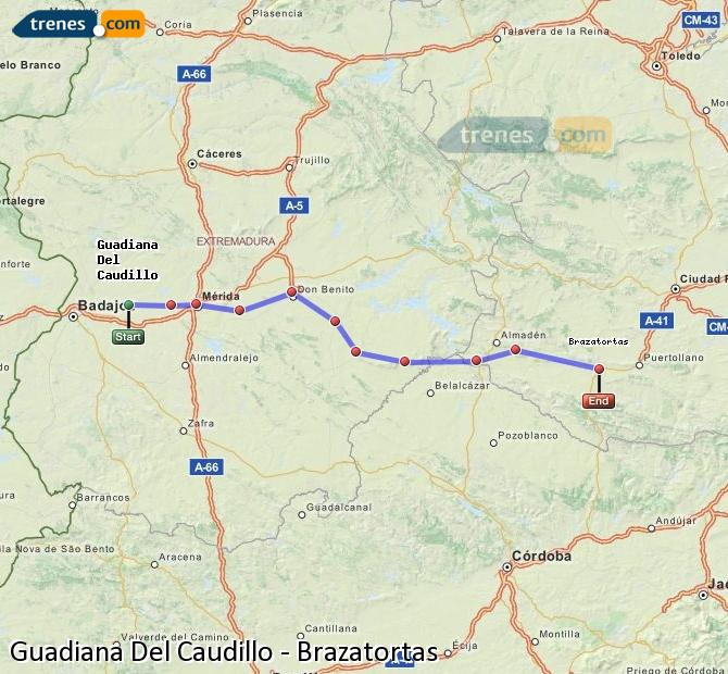 Ampliar mapa Comboios Guadiana Del Caudillo Brazatortas