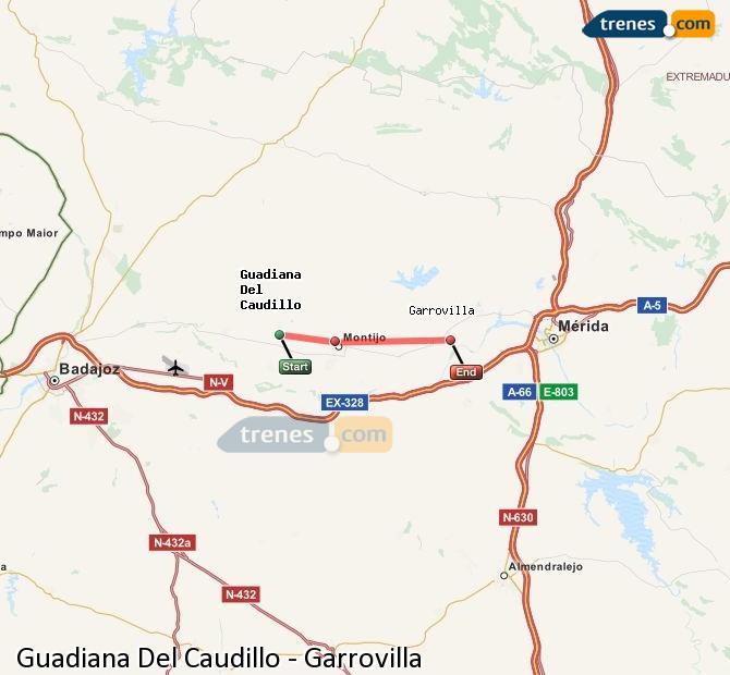 Ampliar mapa Trenes Guadiana Del Caudillo Garrovilla
