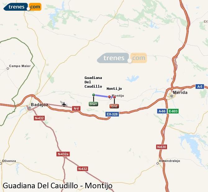 Agrandir la carte Trains Guadiana Del Caudillo Montijo