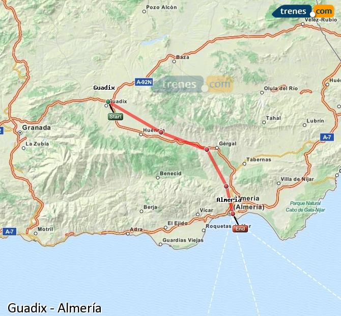 Enlarge map Trains Guadix to Almeria