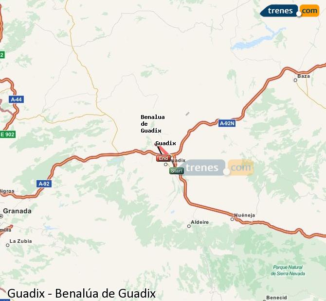 Karte vergrößern Züge Guadix Benalúa de Guadix