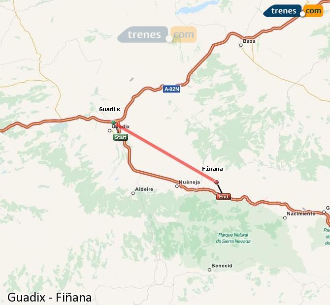 Karte vergrößern Züge Guadix Fiñana
