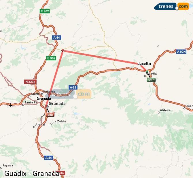 Ampliar mapa Trenes Guadix Granada