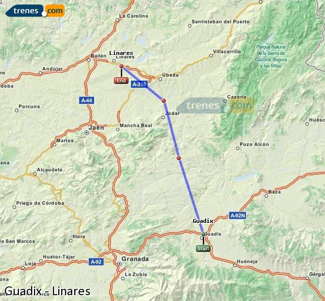 Enlarge map Trains Guadix to Linares