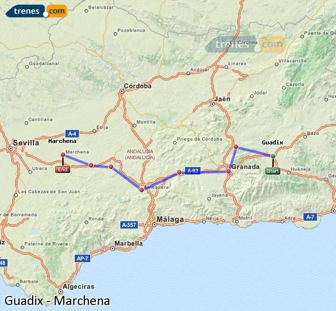 Enlarge map Trains Guadix to Marchena