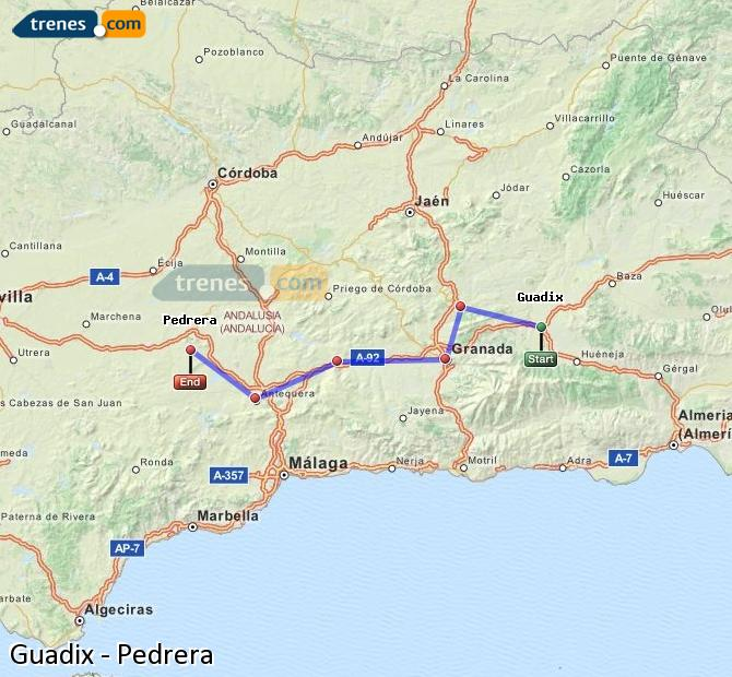 Enlarge map Trains Guadix to Pedrera