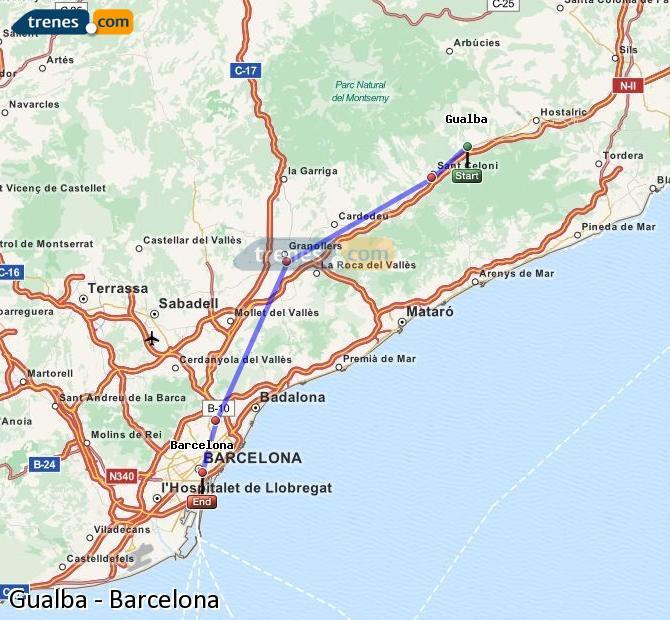 Ingrandisci la mappa Treni Gualba Barcellona