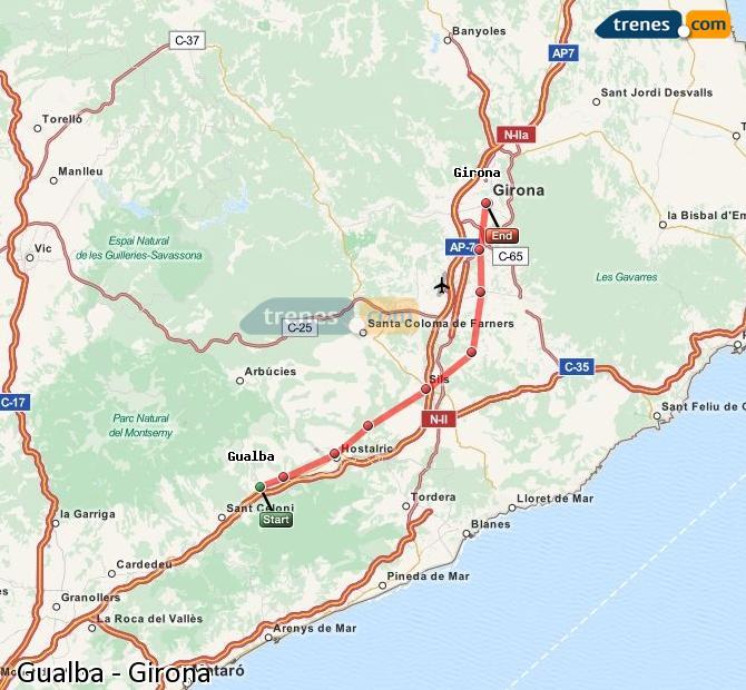 Ampliar mapa Comboios Gualba Girona