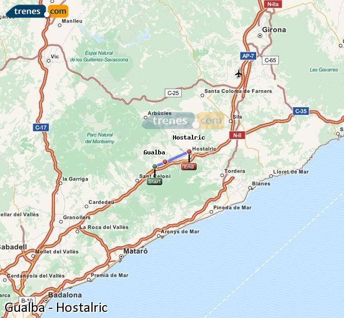 Ampliar mapa Comboios Gualba Hostalric