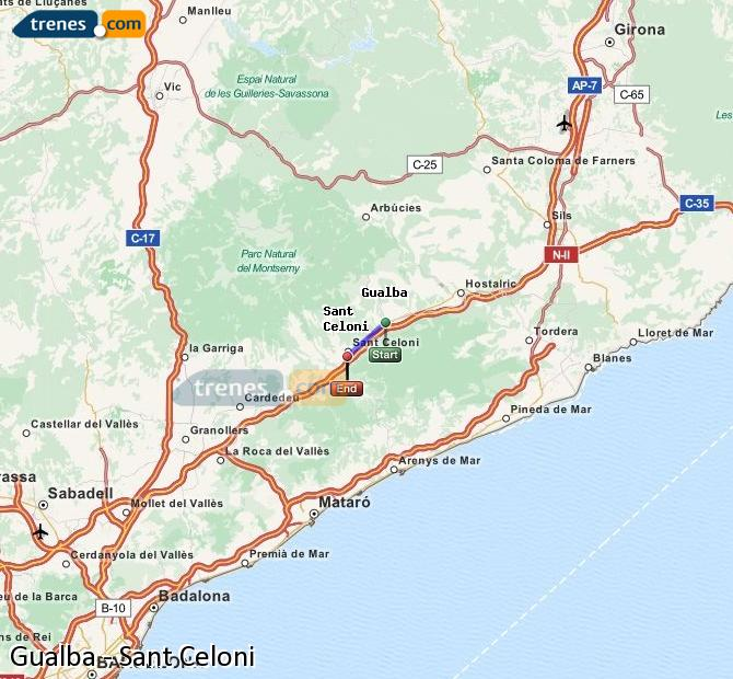 Enlarge map Trains Gualba to Sant Celoni
