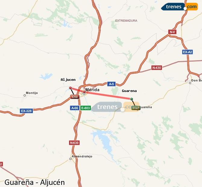Agrandir la carte Trains Guareña Aljucén