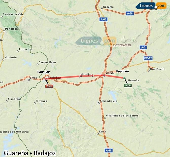 Enlarge map Trains Guareña to Badajoz