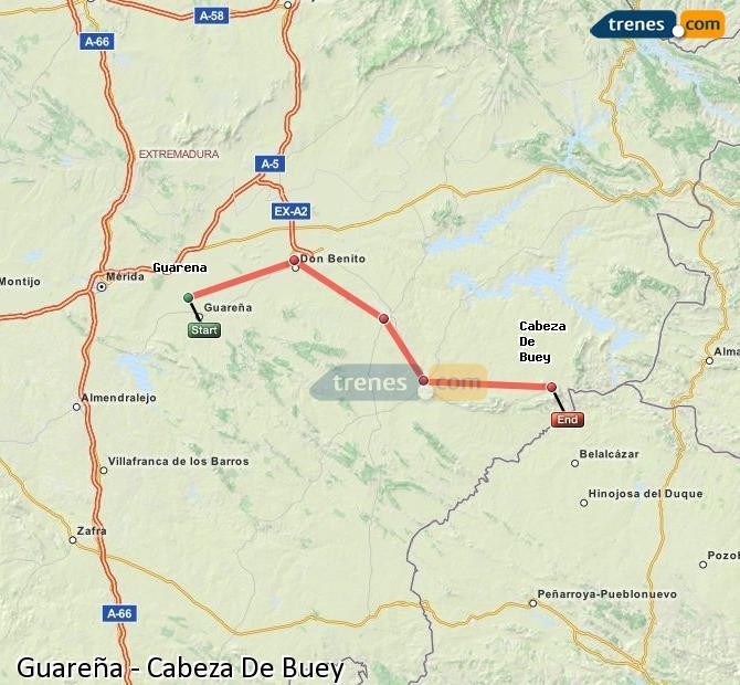 Ingrandisci la mappa Treni Guareña Cabeza De Buey