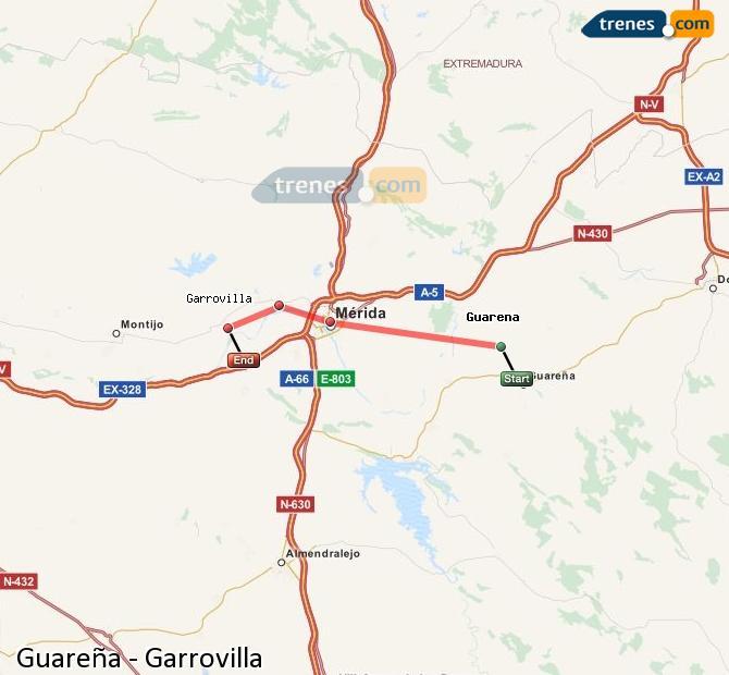 Enlarge map Trains Guareña to Garrovilla
