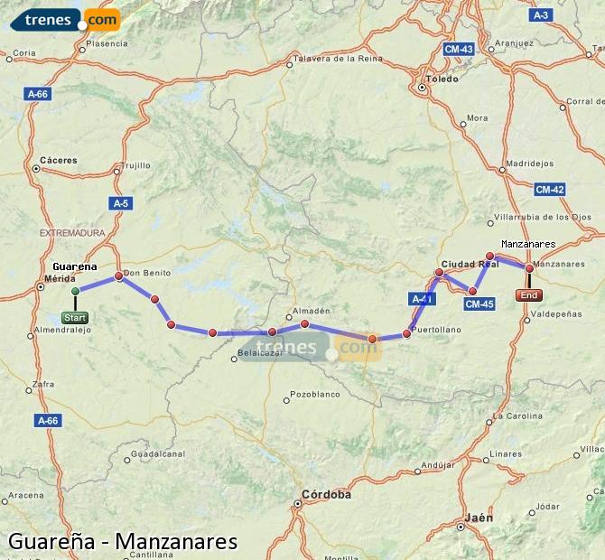 Ampliar mapa Trenes Guareña Manzanares