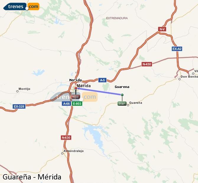 Ingrandisci la mappa Treni Guareña Mérida