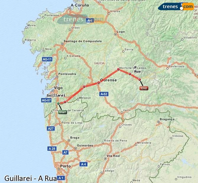 Ingrandisci la mappa Treni Guillarei A Rua