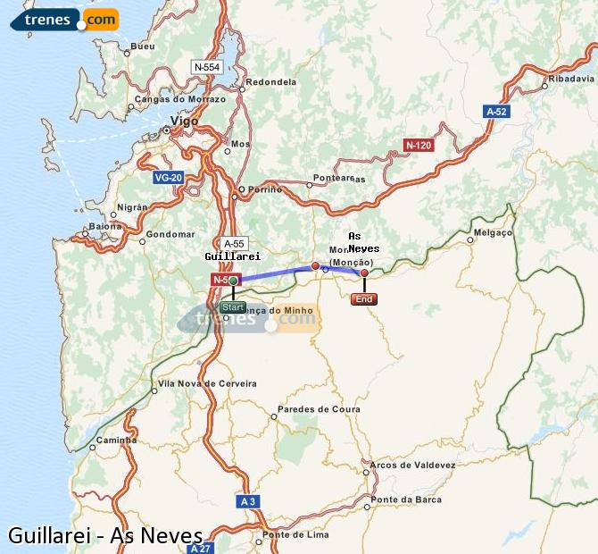 Ingrandisci la mappa Treni Guillarei As Neves