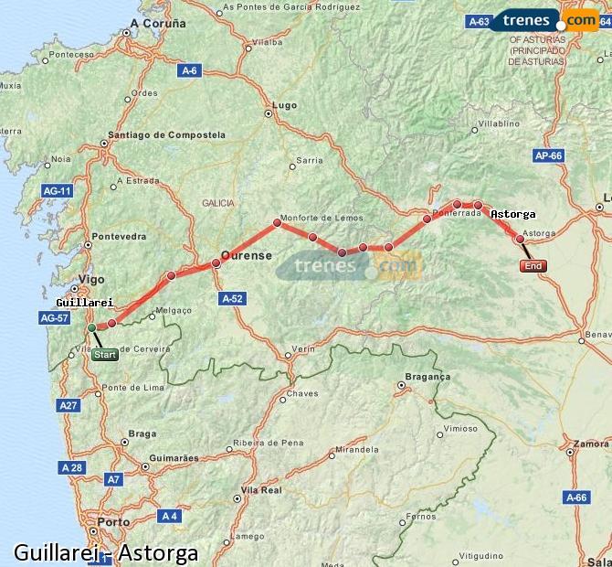 Ingrandisci la mappa Treni Guillarei Astorga