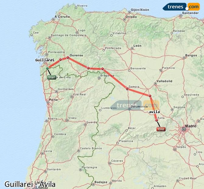 Ingrandisci la mappa Treni Guillarei Ávila