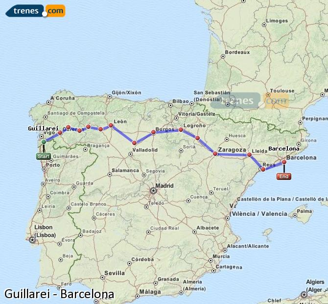 Ingrandisci la mappa Treni Guillarei Barcellona