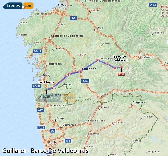 Ingrandisci la mappa Treni Guillarei Barco De Valdeorras