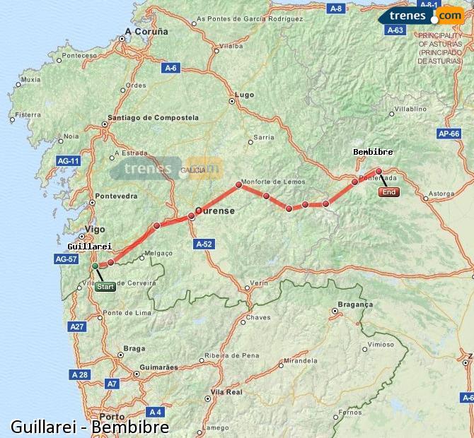 Ingrandisci la mappa Treni Guillarei Bembibre
