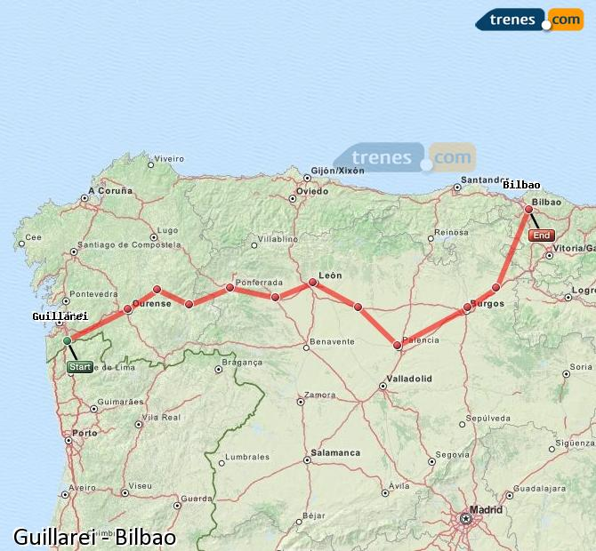 Ingrandisci la mappa Treni Guillarei Bilbao