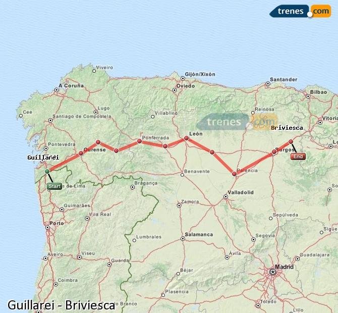 Karte vergrößern Züge Guillarei Briviesca