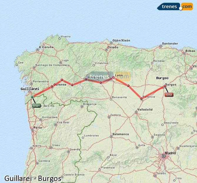 Ingrandisci la mappa Treni Guillarei Burgos