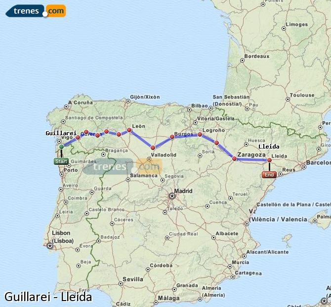 Ingrandisci la mappa Treni Guillarei Lleida